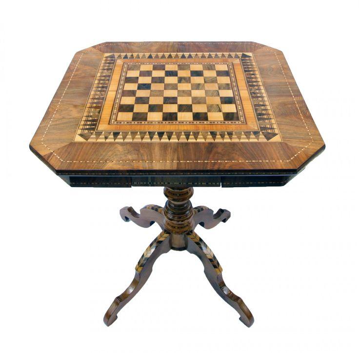 Schachtisch - Spieltisch - Nussbaum - Biedermeier - Antiquitäten - Antik - Möbel
