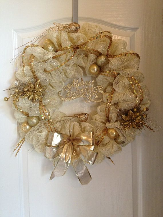Christmas Mesh Wreath gold  door decor by aydeebo on Etsy, $52.00