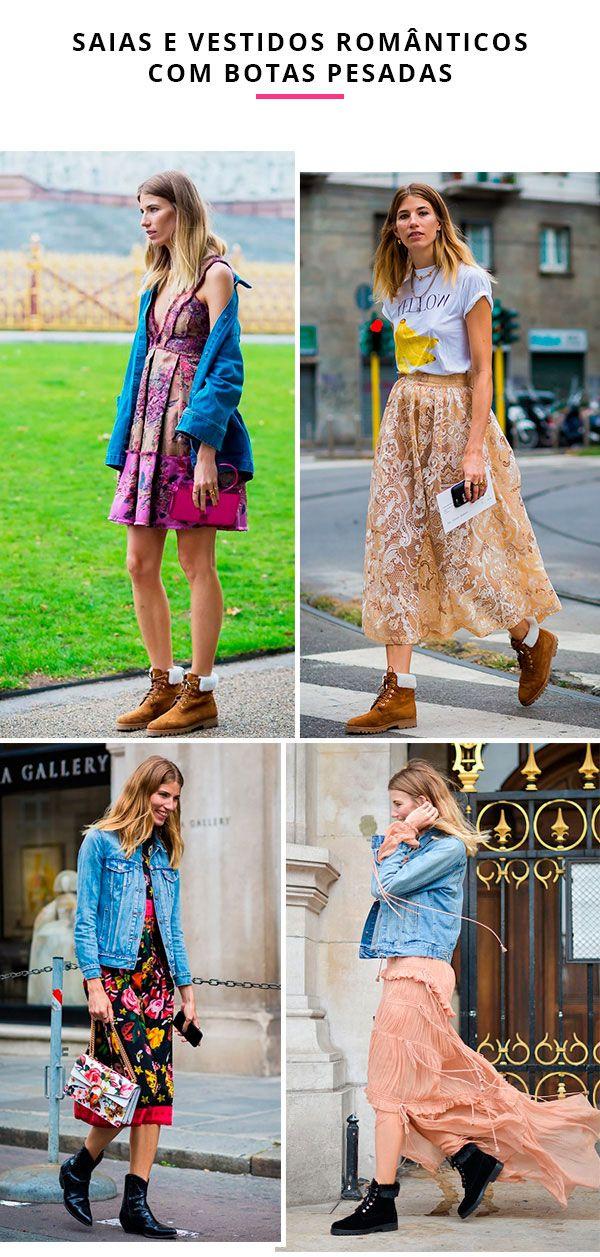 Inspirações de look por Veronika Heilbrunner usando saias e vestidos românticos com botas pesadas.