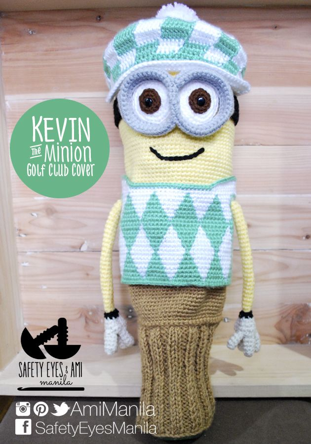 "This is a pattern for 1 Kevin the Minion Golf Club Cover made of 5 parts - Head/Body, Hat, Goggles, Vest, and Sock - using different crochet techniques including tapestry crochet and Knooking.  This pattern can be made to fit a 460cc driver approximately 13.5 - 16"" in circumference but may be adjusted to fit smaller clubs."