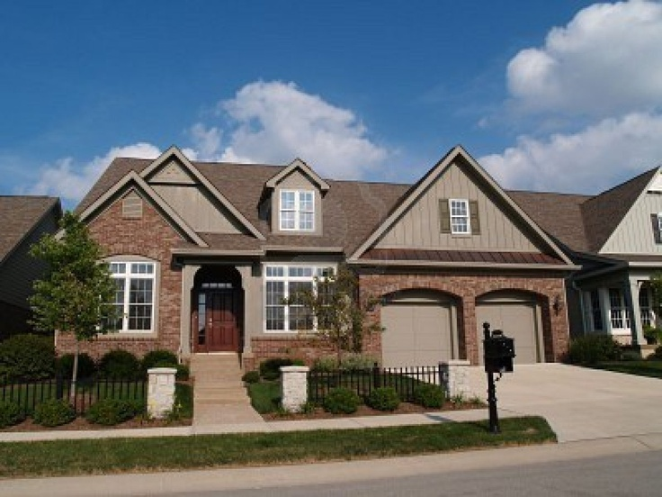 Tan House With Black Shutters Brown Call It Taupe With - Brick house colors with dark brown