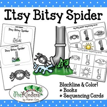 Itsy Bitsy Spider illustrated nursery rhyme books and sequencing cards. Includes both color & blackline!