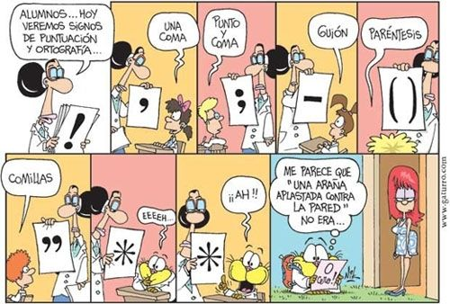 Cute comic for starting off a lesson about punctuation symbols in Spanish.