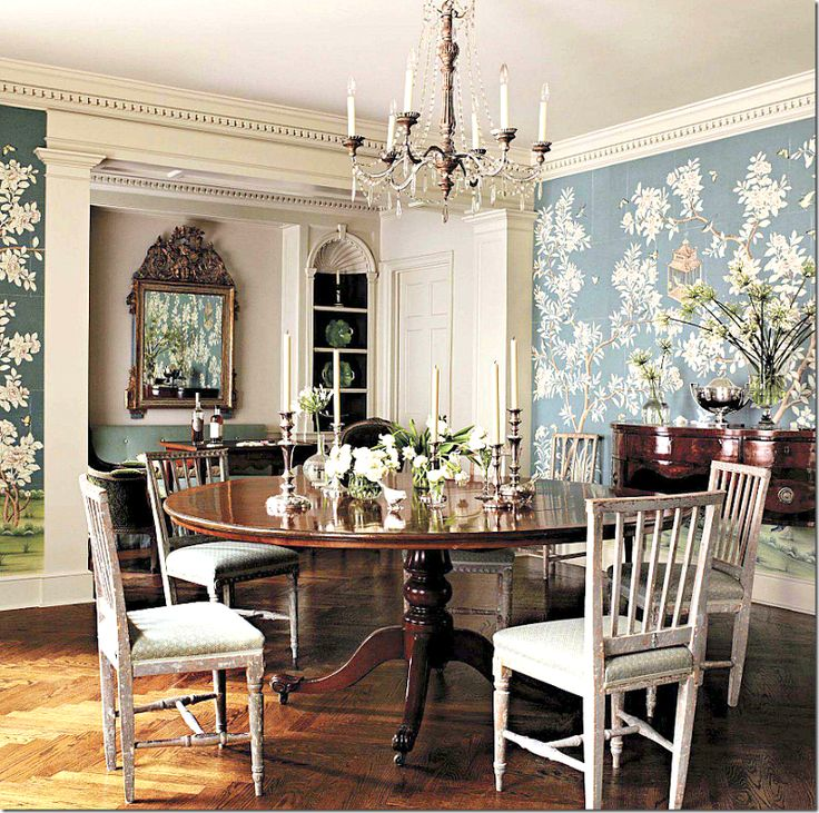 Love The Grey Blue De Gournay Wallpaper In This Beautiful Dining Room By Suzanne Rheinstein