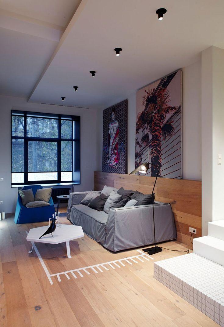 Basseynaya Str is a hip apartment in Kiev, Ukraine that was designed by Olga Akulova Design
