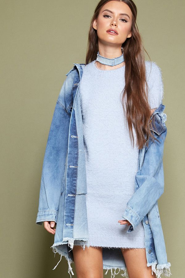 FOREVER 21+ Fuzzy Knit Sweater Dress