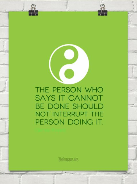 The person who says it cannot be done should not interrupt the person doing it. by Chinese Proverb #76084