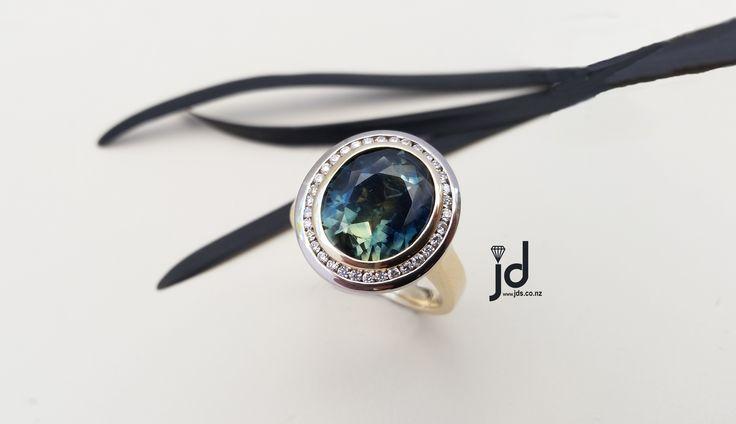 Natural Australian Sapphire   Ring   Diamond   Handcrafted Jewellery   www.jds.nz