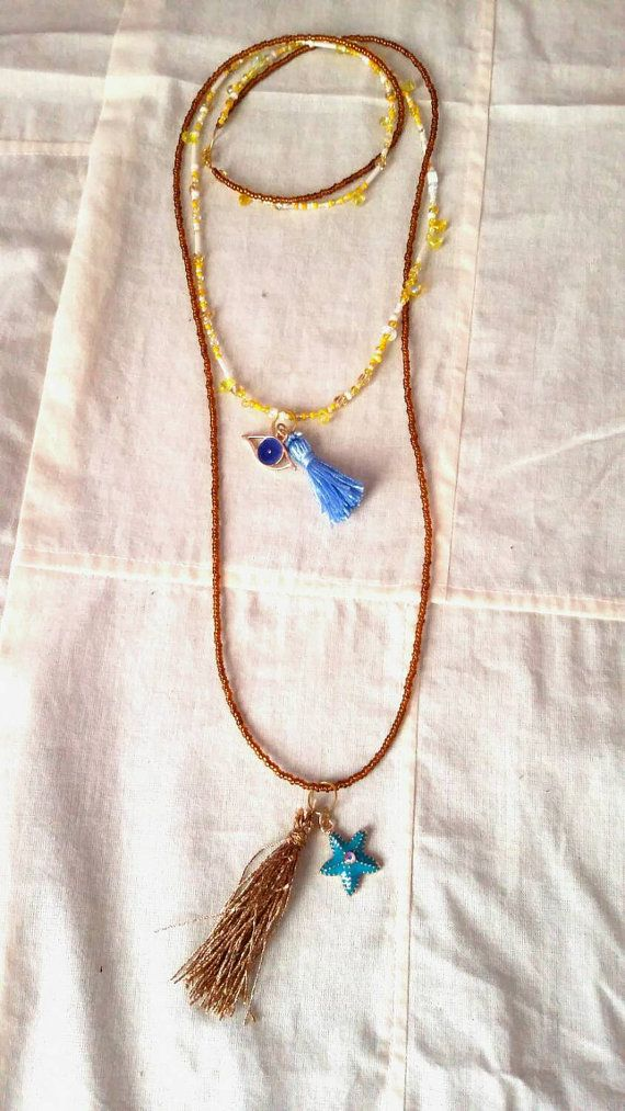 Long double necklace / ethnic style / lucky by KaterinakiJewelry