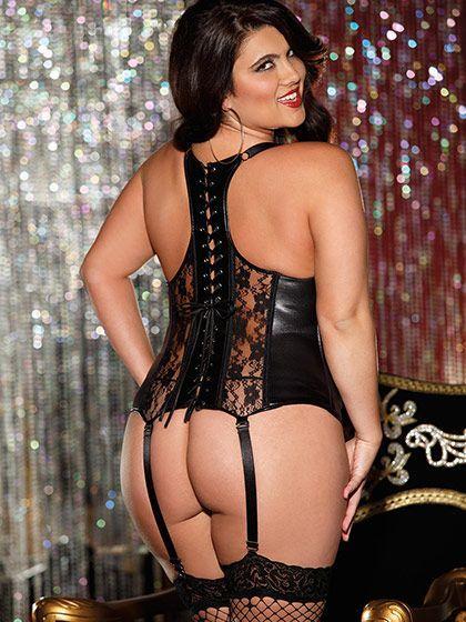 Models size crotchless plus panties lingerie