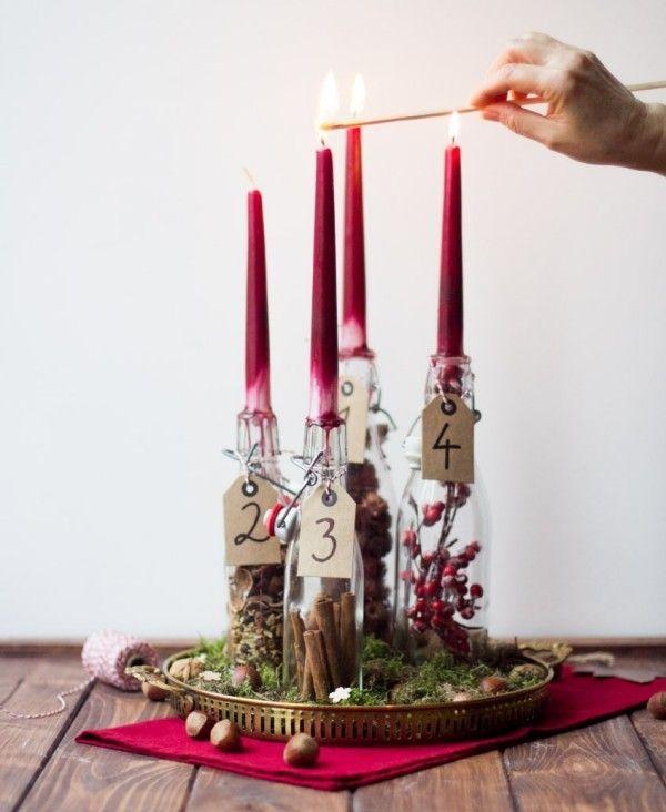 Machen Sie sich aus Flaschen einen coolen Adventskranz   – Advent