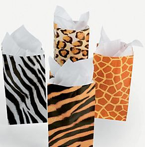 Animal Print treat Bags.  Fill these animal print gift bags with lots of treats, gifts and favors at your next jungle or safari party!  These 25cm favor bags come in a variety of animals prints, including zebra stripes, tiger stripes, giraffe spots and leopard prints.