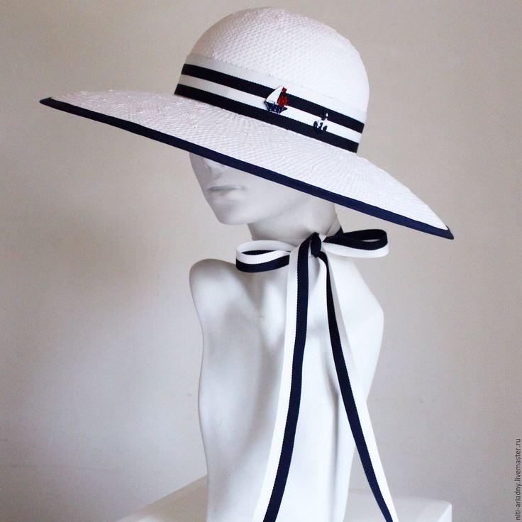 Купить Шляпа летняя в морском стиле - белый, сине-белый, полоска, полосатый рейс