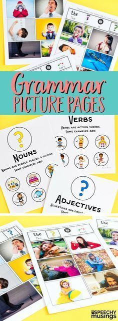 Target early developing grammar in preschool and kindergarten with these grammar picture pages! Teach all about nouns, adjectives, verbs and MORE using visuals! A must have for your speech therapy sessions! From Speechy Musings.