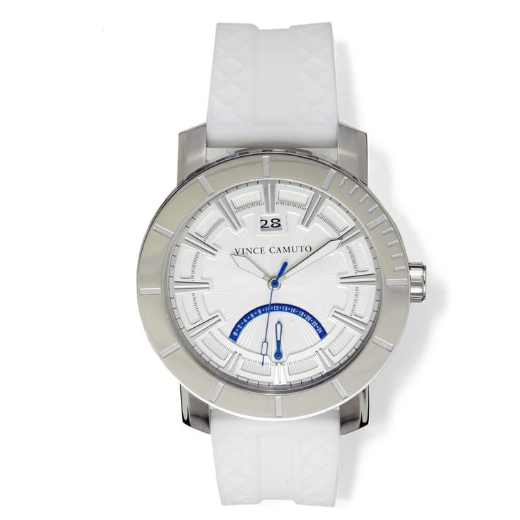 This Apolo from Vince Camuto has a round silicone strap with stainless steel accents. It features a textured dial, date tracker, 24-hour zone at 6 and gun indexes. This watch is water resistant 165 ft.