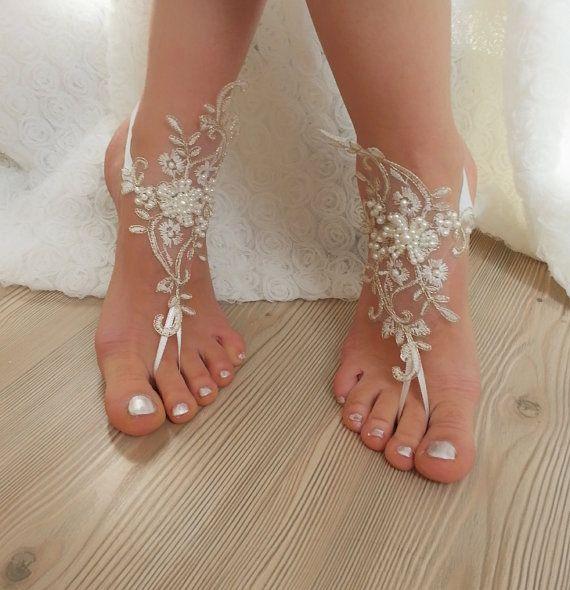 ivoor gouden frame parel kralen Beach bruiloft door BarefootShop