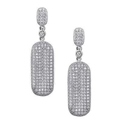 Fine Jewelry Simulated White Cubic Zirconia Sterling Silver Drop Earrings rg4q0