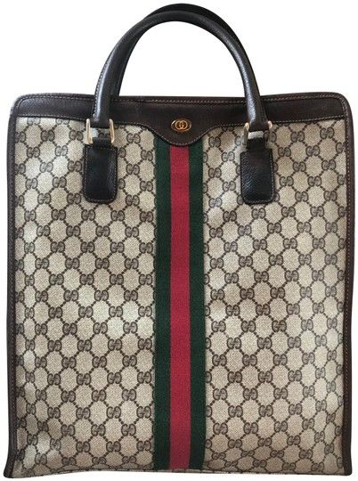 867e820af0d0 Gucci Rare Vintage Sherry Line Web Monogram Supreme Leather Zip Vertical  Brown Canvas Tote. Get one of the hottest styles of the season!