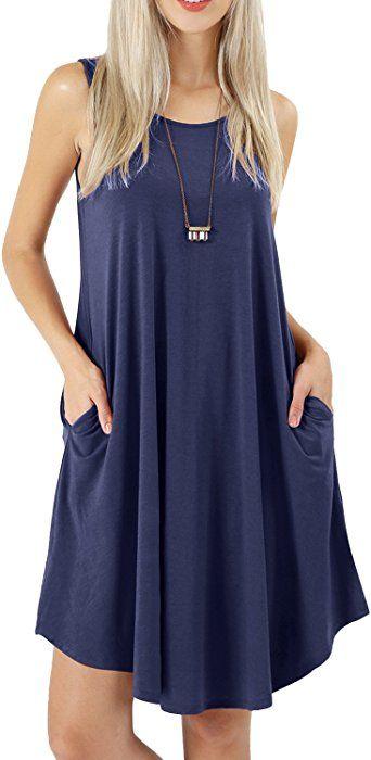 c6638e8c7b40 peassa Womens Casual Flowy Plain Pockets T Shirt Summer Tank Dress Deep Blue  L at Amazon Women s Clothing store