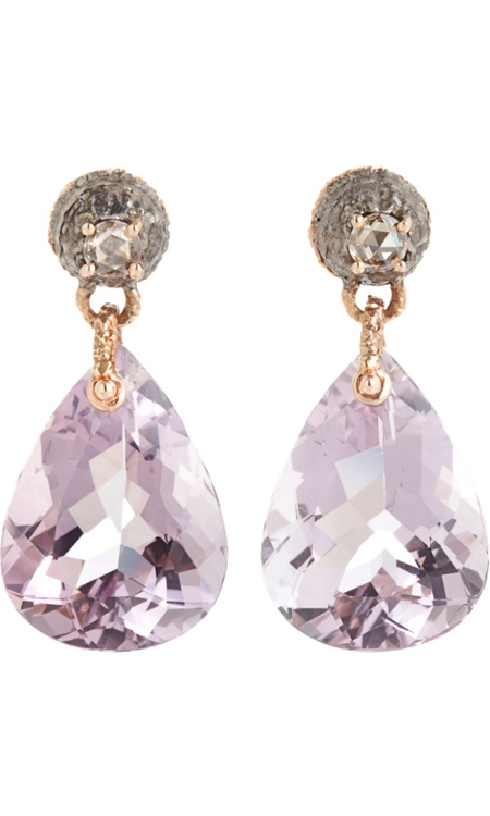 Federica Rettore Amethyst Drop Earrings - 18k rose gold earrings with .38ct brown rose cut diamonds set into steel and pear-shaped lilac amethyst drops