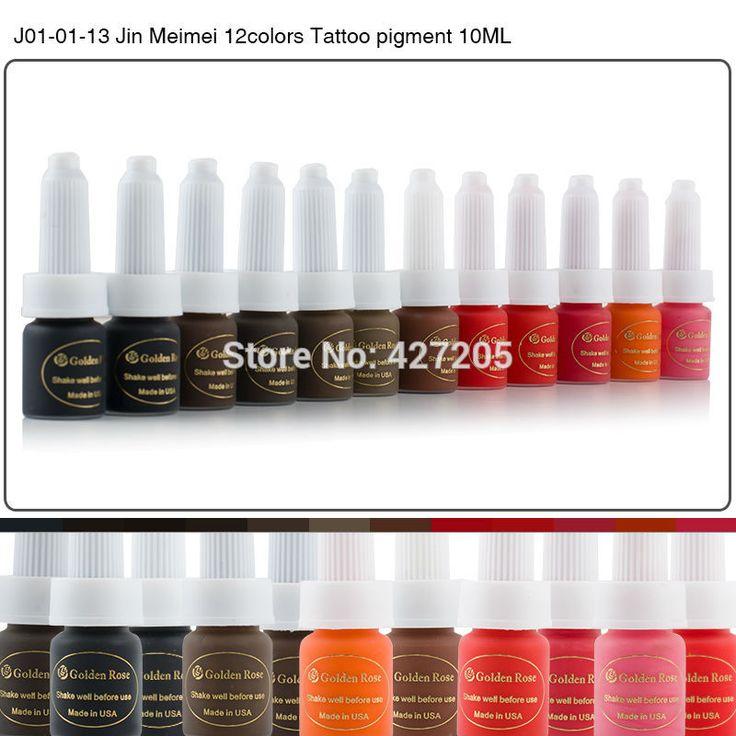 Goldene Rose Permanent Makeup Ink Augenbraue Tattoofarbe Set 10 ML 12 Farben Lip Microblading Pigment Professionelle Encre Eine Levre