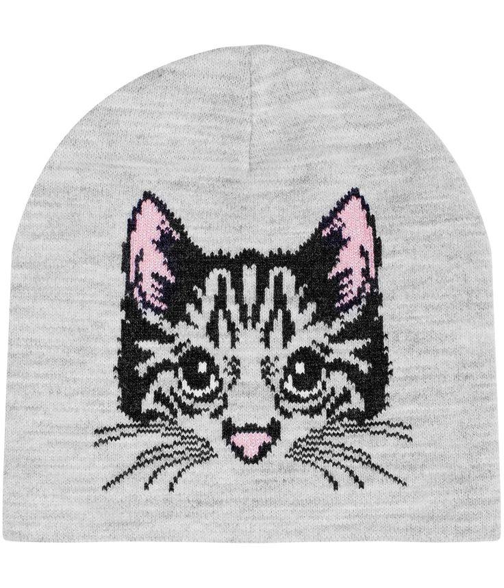 Jaqcardmössa med katt på framsidan