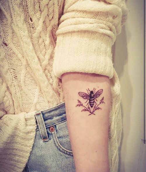 Cute little bee tattoo, I love what they do for our planet and they are definitely the most interesting and important insect in our world.