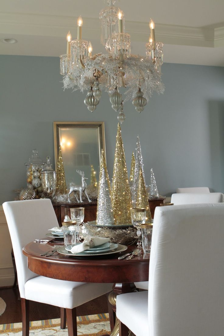 Best 20 silver christmas decorations ideas on pinterest for Dining hall decoration