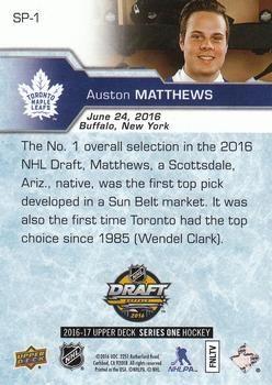2016-17 Upper Deck - 2016 NHL Draft SP #SP-1 Auston Matthews Back