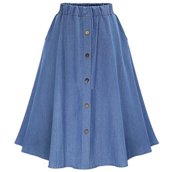 Elastic Waist Denim Flare Skirt With Buttons (9.651 BHD) ❤ liked on Polyvore featuring skirts, a line denim skirt, denim maxi skirt, button-front denim skirts, skater skirts and denim skater skirt
