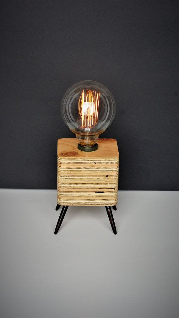 Lampe De Table De Bureau De Chevet Bois Recycle Retro Vintage
