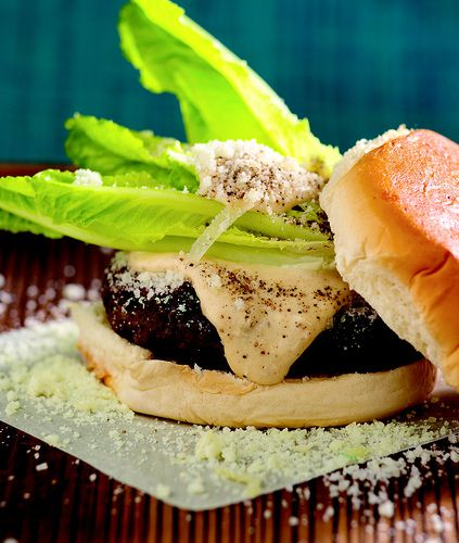 Bobby Flay ... caesar salad burger | Food | Pinterest