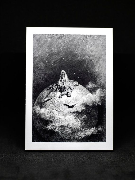 """Postcard Print """"Darkness there and nothing more."""" by HoneysDead #grimreaper #death #moon #illutration"""