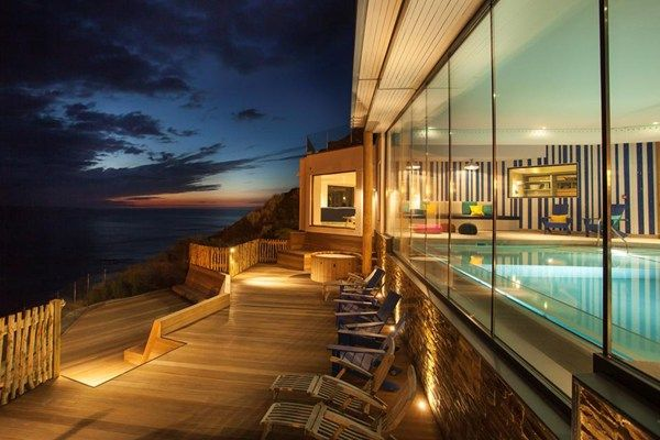 Watergate Bay Hotel, Cornwall  There's no denying Watergate Bay Hotel is perfectly located. Right on the Cornish seafront just North of Newquay, we'd forgive you for thinking you'd been transported to an exotic island...