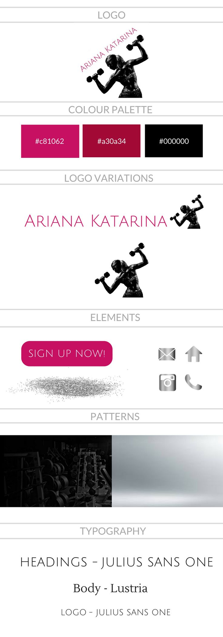 Brand Style Guide created by North Palm Digital for personal trainer Ariana Katarina
