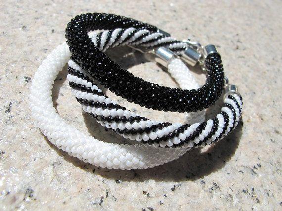 Black white beaded bracelet white crochet by DwarfsTreasure