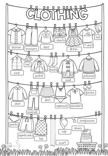 Clothing – Picture Dictionary (filled + blank) – Teaching material in English