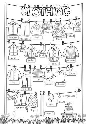 Clothing – Picture Dictionary (Ausgefüllt + blanko) – Unterrichtsmaterial im Fach Englisch