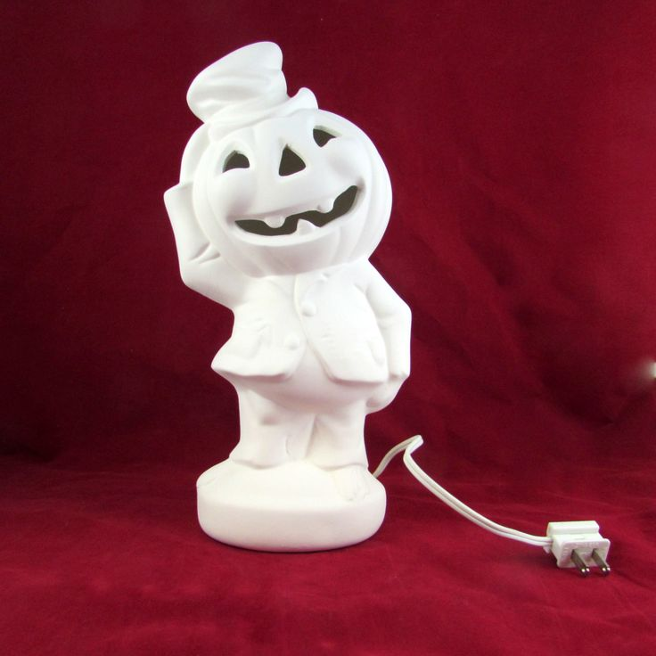 Ceramic Ready to Ship, Ready to Paint Pumpkin Head with Light Kit -14 inches - hand made, Halloween, for candy or candles by aarceramics on Etsy