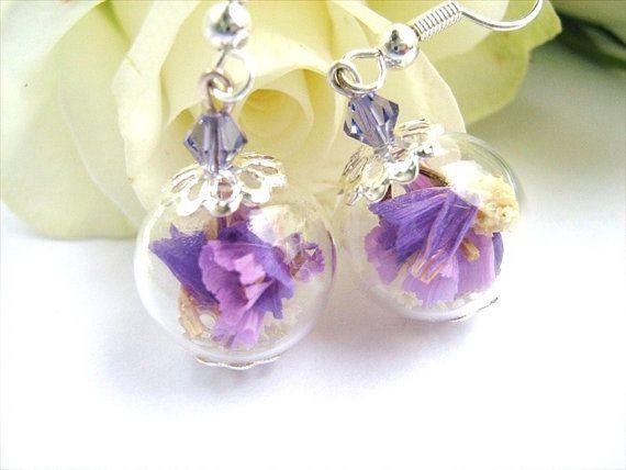 Violet boucles doreilles fleur véritable boucles doreilles