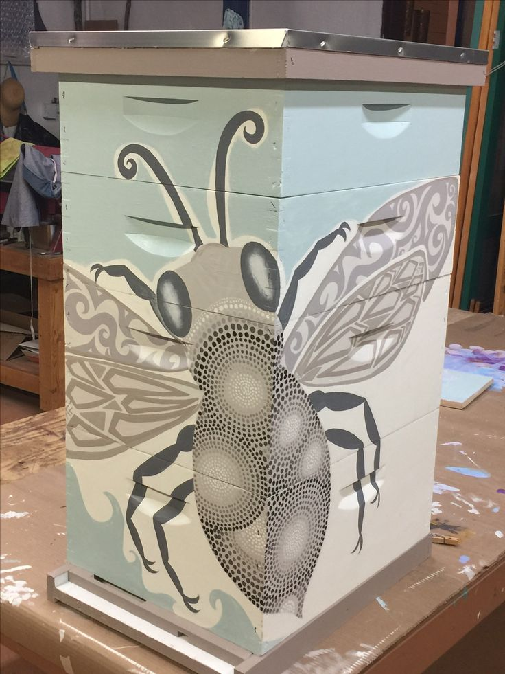 My Bee Box painted by Marion Moore from Taos Tinworks in Taos, New Mexico.