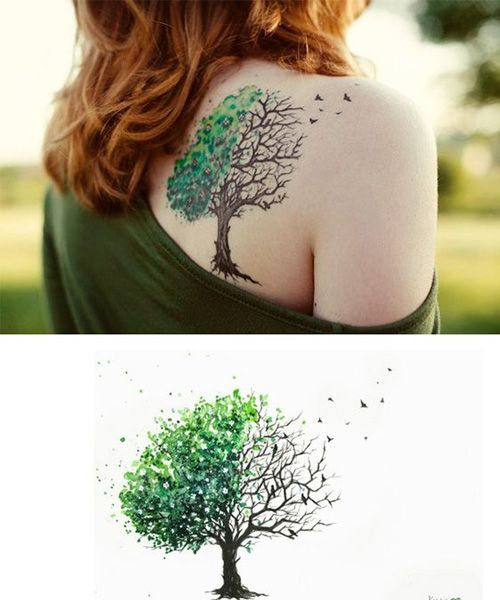 Great Tree Tattoo Design on Shoulder for Women