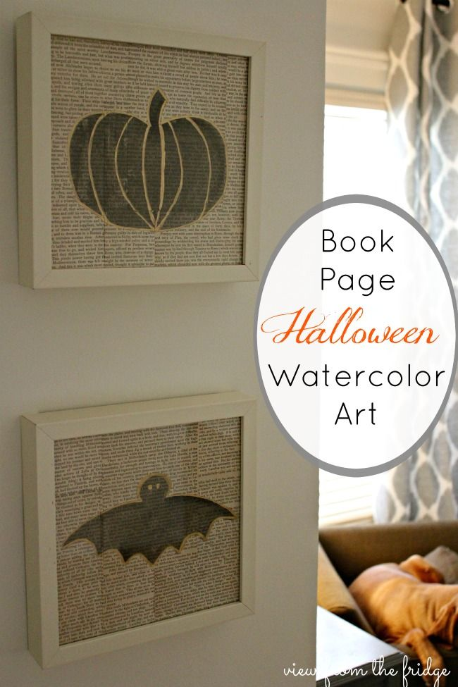 Easy to Create Art:  Book Page Watercolor Halloween Art  |  View  From The Fridge for Juggling Act Mama