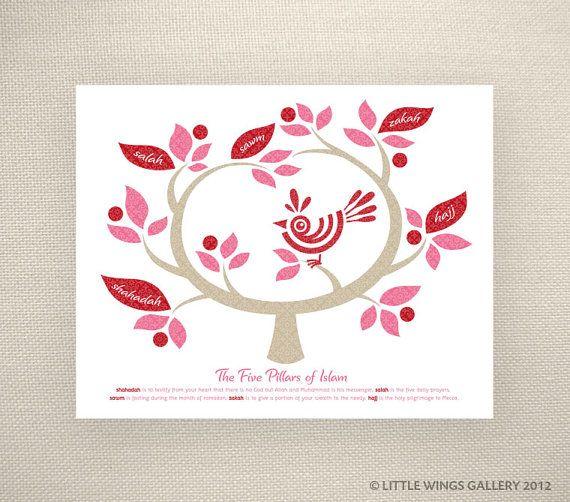 Five Pillars of Islam Tree Red Islamic Art by LittleWingsGallery, $14.00