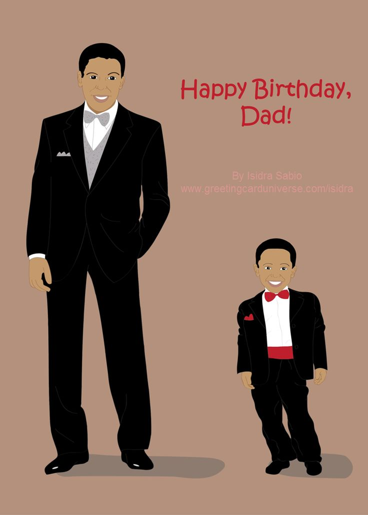 Birthday Greeting Card For Dad / Father. Handsome Black