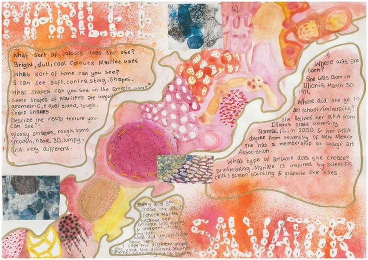 Miss Allen's Year 7 Students work from Princess Helena College. A 'Cells and Bacteria' artist research page.