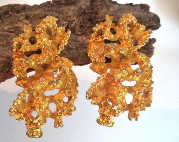 70s Brutalist Gold Huge Earrings Boho Vintage by MushkaVintage3