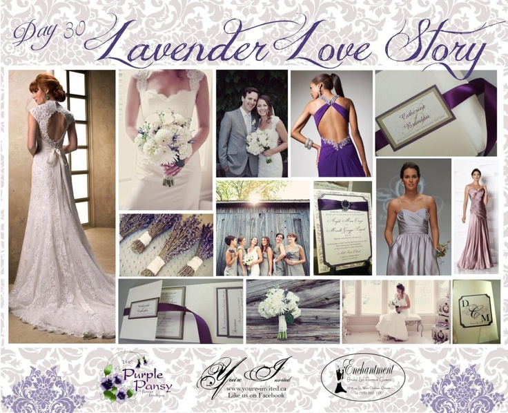 Day 30 Lavender Love Story Wedding. The Purple Pansy www.purplepansy.ca You're Invited www.youre-invited.ca Enchantment Bridal www.enchantmentbr... Picture of You're Invited Invitations Enchantment Bridal Dresses & The Purple Pansy Floral Arrangements