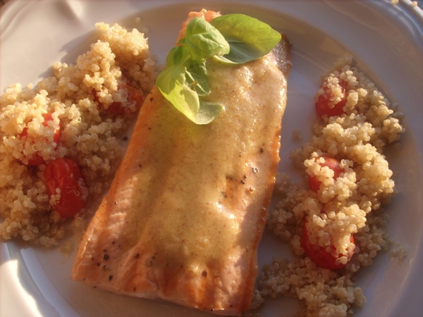 Roasted Salmon with Tomatoes, Basil, Capers, Parmesean, & Quinoa!