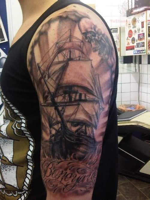 Pirate Ship Tattoo Sleeve | Left Half Sleeve Pirate Ship Unique Tattoo